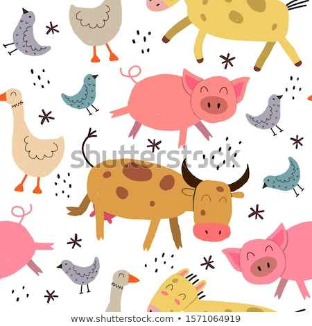 cute farm animals silhouettes   flat design style set of characters stock photo © decorwithme