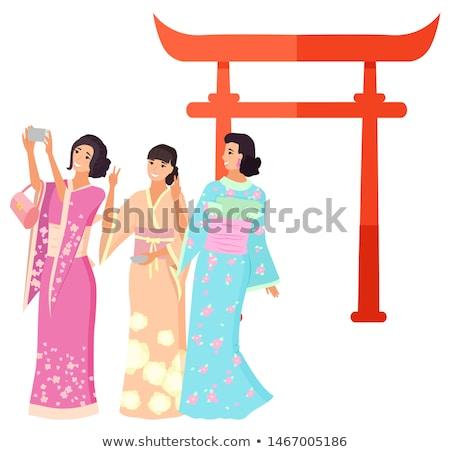 tavasz · kimonó · vektor · végtelen · minta · retró · stílus · madarak - stock fotó © robuart