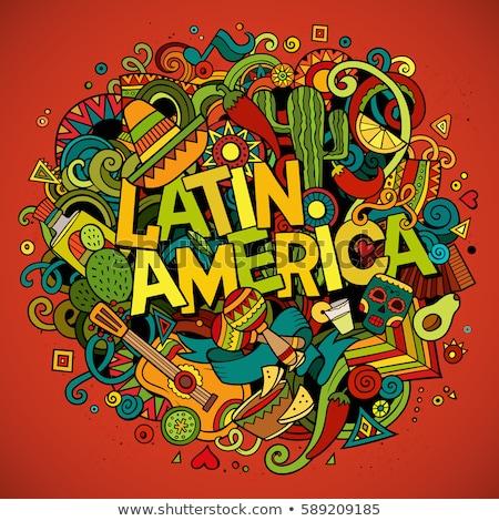 Cartoon bazgroły ameryka Łacińska ilustracja kolorowy szczegółowy Zdjęcia stock © balabolka