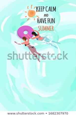 Verão cartaz texto amostra mulher biquíni Foto stock © robuart