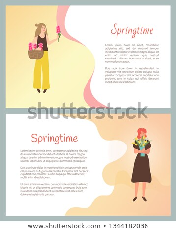 Springtime Poster, Girls Happy to Receive Flowers Stock photo © robuart