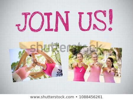 Join us text and Breast Cancer Awareness Photo Collage Stock photo © wavebreak_media