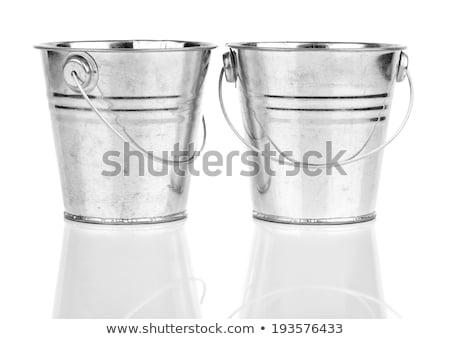 Nuovo metal secchio bianco isolato texture Foto d'archivio © OleksandrO