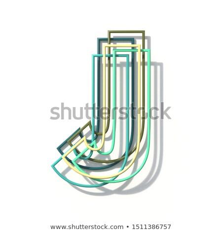 Three colors line font Letter J 3D Stock photo © djmilic