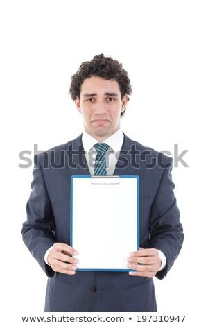 Worried man holding white empty panel. Stock photo © lichtmeister