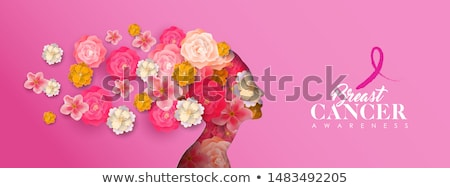 breast cancer awareness papercut woman pink ribbon stock photo © cienpies