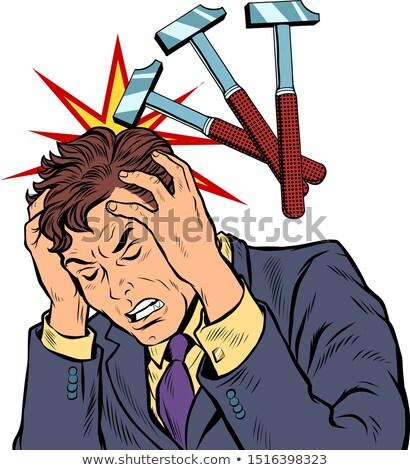 throbbing headache man. hammer blows Stock photo © studiostoks