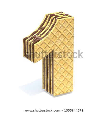 Waffles font with chocolate cream filling Number 1 ONE 3D Stock photo © djmilic