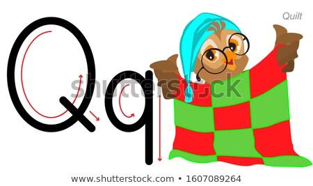 English letter abc alphabet learning. Owl holding quilt Stock photo © orensila