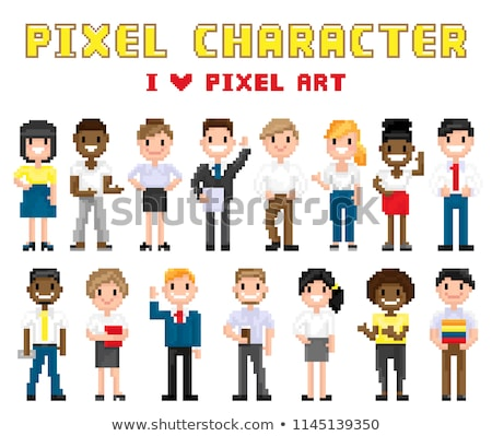 People Smiling and Waving, Pixel Characters Vector Stock photo © robuart