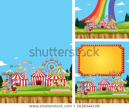 Three scenes of circus with many rides Stock photo © bluering