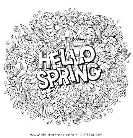 Hello wiosną cartoon bazgroły ilustracja Zdjęcia stock © balabolka