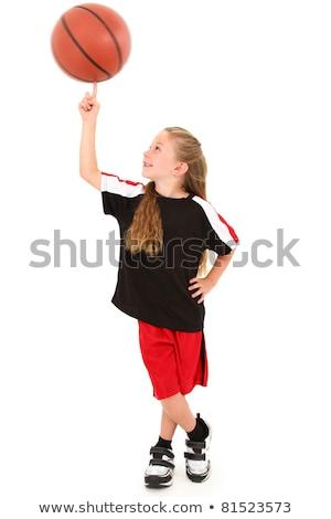 Athlete spinning basketball on white background Stock photo © bluering