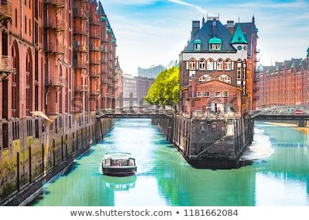 исторический Гамбург закат воды дома облака Сток-фото © elxeneize