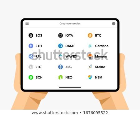 Tablet with cryptocurrencies. Bitcoin, Dash, Monero, Ripple, Ethereum, EOS, BTC, Cardano wallet. EPS Stock photo © karetniy