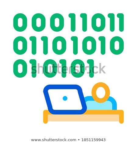 люди вверх двоичный код икона вектора Сток-фото © pikepicture