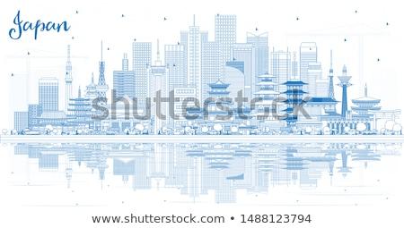 Schets Osaka skyline Blauw gebouwen Stockfoto © ShustrikS