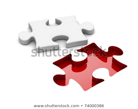 puzzle on white background isolated 3d image stock photo © iserg