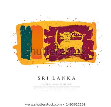 Sri Lanka zászló kéz fehér világ felirat Stock fotó © butenkow