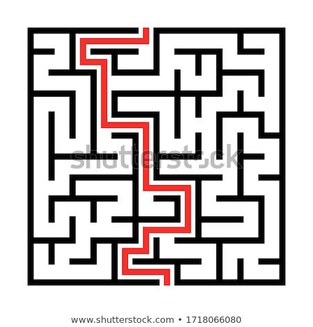 Praça complicado labirinto preto silhueta Foto stock © evgeny89