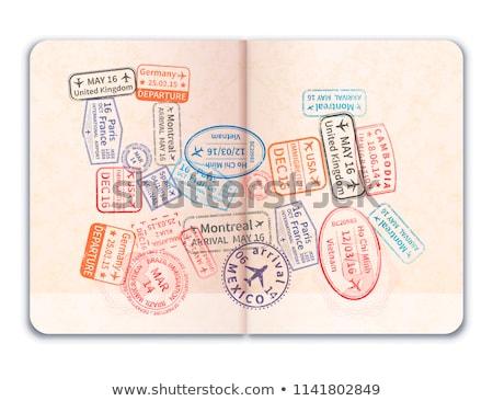 Realistisch Open buitenlands paspoort veel heldere Stockfoto © evgeny89