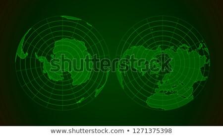 Arctic and antarctic poles globe hemispheres in military radar style display Stock photo © evgeny89