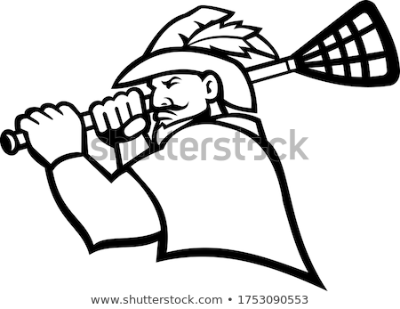 Robin Hood or Green Archer With Lacrosse Stick Sport Mascot Black and White Stock photo © patrimonio