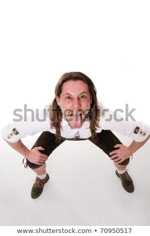 Crazy · человека · традиционный · костюм · белый · пива - Сток-фото © fahrner