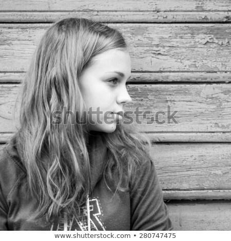 portré · fiatal · lány · félénk · lány · fal · szépség - stock fotó © photography33