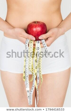 Сток-фото: Measuring Perfect Shape In Red Underwear