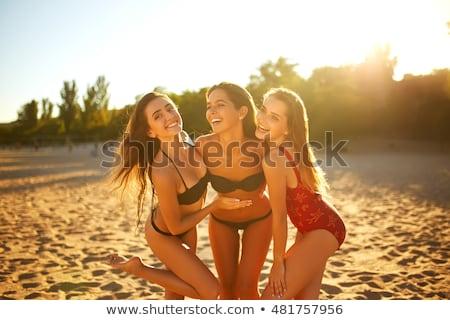 Stockfoto: Drie · vrouwen · groot · tijd · strand · schoonheid
