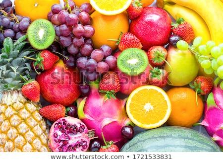 Válogatás gyümölcsök háttér desszert kanál diéta Stock fotó © M-studio