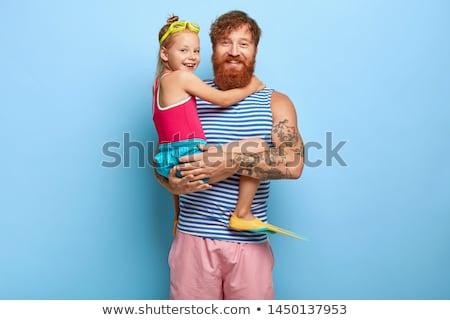 apa · lánygyermek · úszik · lány · férfi · bikini - stock fotó © photography33
