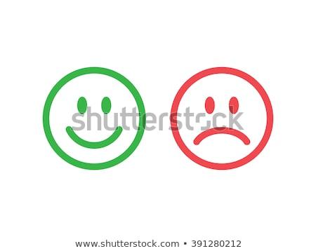 Set triste sorrisi isolato bianco Foto d'archivio © adamson