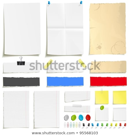 note papers in white blue yellow colors with pins stock photo © experimental