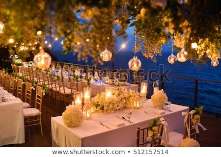 detail · bruiloft · diner · rozen · plaat · interieur - stockfoto © gsermek