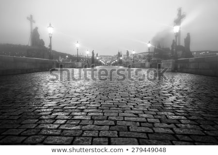 Foggy morning in an old streets of Prague.  Stock photo © frank11