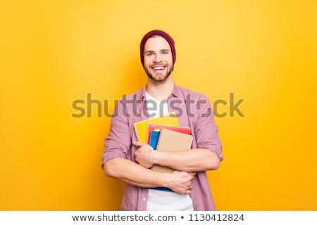 glimlachend · vrolijk · stijlvol · leraar · notepad · onderwijs - stockfoto © gromovataya