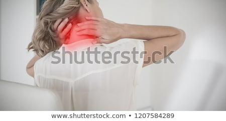 Foto stock: Blond Woman Suffering From Neck Pain