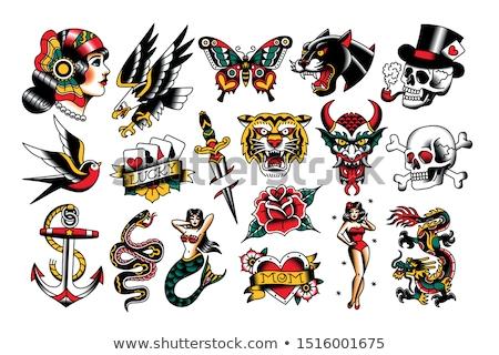 Párduc tetoválás macska felirat ugrás portré Stock fotó © dagadu