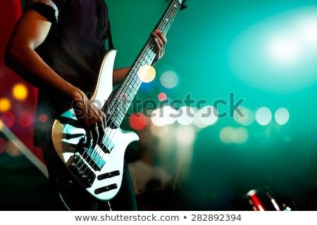 Biegun gry gitara elektryczna muzyki gitara włosy Zdjęcia stock © photography33