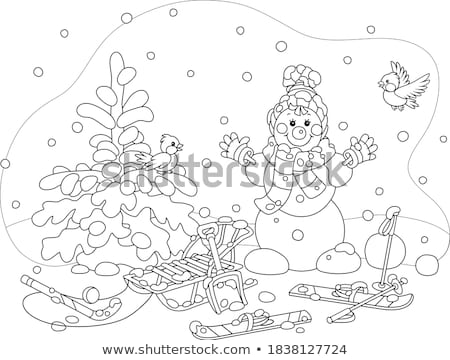 Snowman with spade Stock photo © michey