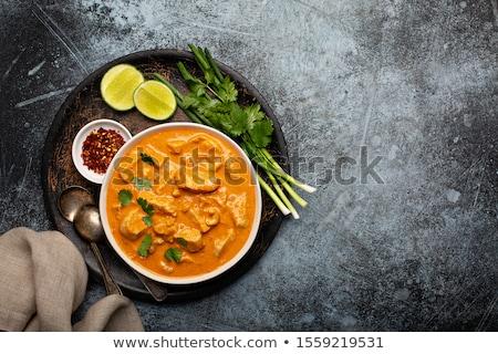 vermelho · caril · frango · arroz · filé · jantar - foto stock © m-studio