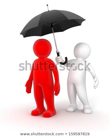 3d man holding an umbrella security in business concept stock photo © digitalgenetics