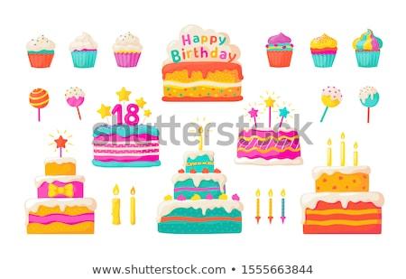 bolo · de · aniversário · vetor · imagem · desenho · animado · feliz - foto stock © perysty