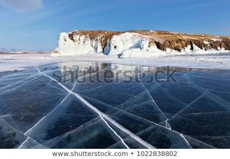 凍結 湖 石 水 雲 スポーツ ストックフォト © phila54
