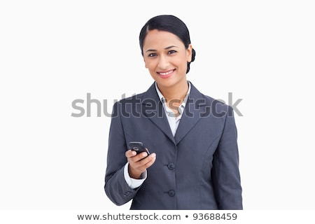 Close up of saleswoman reading text message against a white background Stock photo © wavebreak_media