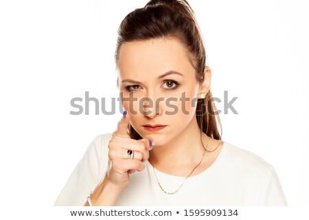 vrouw · wijzend · aantrekkelijk · jonge · blonde · vrouw · vinger - stockfoto © stryjek