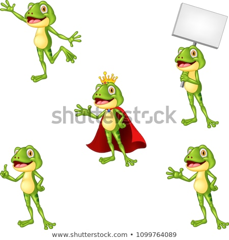 Foto stock: Frog Prince Holding A Blank Sign