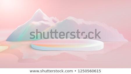 3d · render · szürke · felhős · pólus · tájkép · hó - stock fotó © elenarts